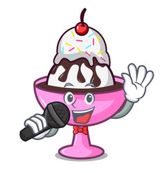 Singing ice cream sundae mascot cartoon vector