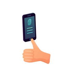 smartphone round fingerprint button modern vector image
