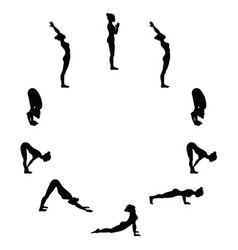 Sun salutation surya namaskara a yoga sequence vector