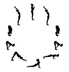Sun salutation surya namaskara a yoga sequence vector