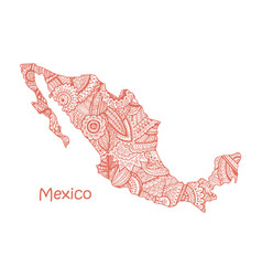 textured map of mexico hand drawn ethno vector image