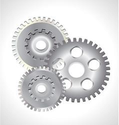 three silver gear cog icon vector image