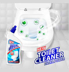 Toilet cleaner gel banner ads realistic clean vector