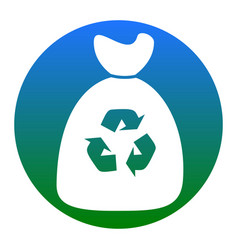 Trash bag icon white icon in bluish vector