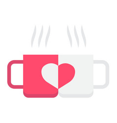two pair mug flat icon valentines day vector image