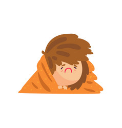 unhappy sick girl having high temperature lying vector image