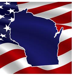 united states wisconsin dark blue silhouette vector image