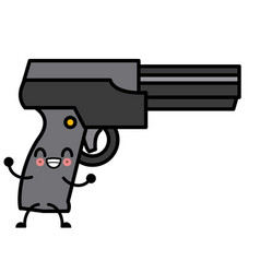 Videogame gun pistol cute kawaii cartoon vector