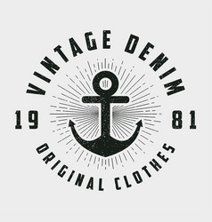 vintage denim print for t-shirt vector image