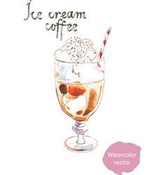 watercolor coffee ice cream vector image vector image