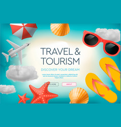 web site design template on theme travel vector image