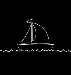white contour of sailing ship yacht boat icon vector image