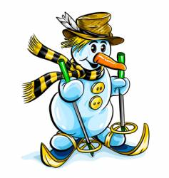 winter snowman on skis vector image