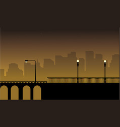 With street lamp on bridge vector