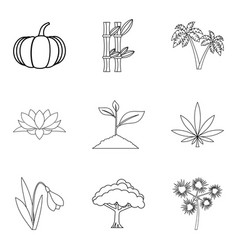 World of plant icons set outline style vector