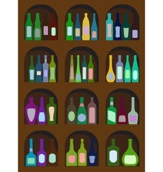 bottles of alcohol vector image vector image