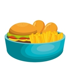dish with fast food vector image