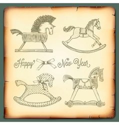 New Year vintage card with rocking toys horses vector image vector image