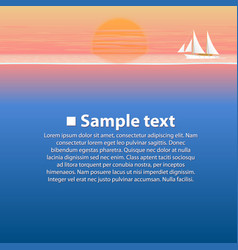 sailing boat in the sea at sunset vector image vector image