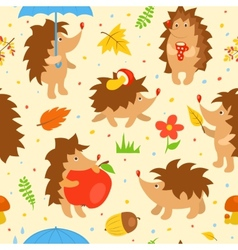 Seamless pattern with simple cute hedgehogs vector image