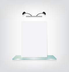 White poster on glass shelf bracket vector