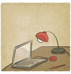 workplace laptop lamp old background vector image