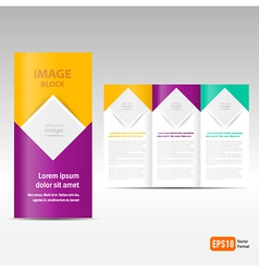 Brochure tri-fold design template block for images vector
