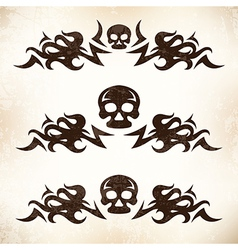 Design elements with flame and skull vector image vector image