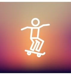 Man skateboarding thin line icon vector image vector image