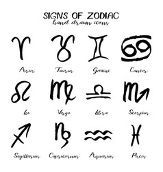 set of signs of zodiac in hand drawn style vector image