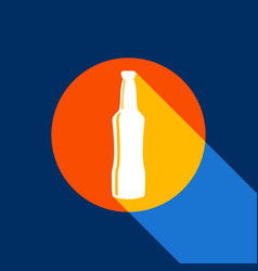 beer bottle sign white icon on tangelo vector image