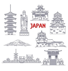 Famous travel landmarks of Japan thin line icon vector image vector image