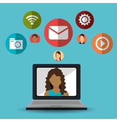 laptop girl communication message social media vector image