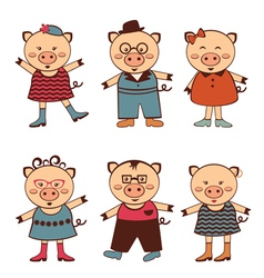 Pigs fashion vector image vector image