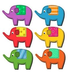 Set of multi-colored elephants vector image vector image
