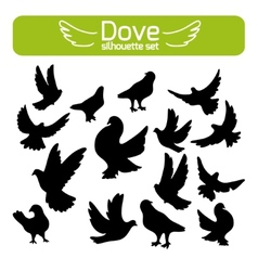 silhouettes of doves vector image vector image