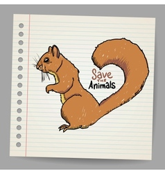 Squirrel with save the animals sign vector image