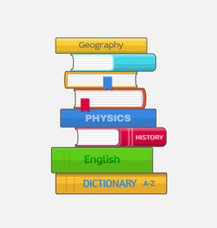 stack of colored textbooks on white background vector image vector image