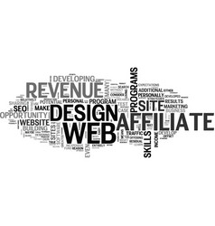 Affiliate revenue a web design test case text vector