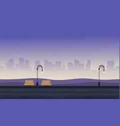 background game with chair and street lamp on vector image