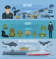 banners military forces vehicles and outfit vector image