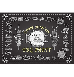 BBQ PARTY ON CHALKBOARD vector image vector image