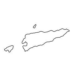 east timor map of black contour curves on white vector image