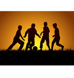 Four boys and football vector image vector image