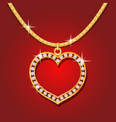 Golden necklace with brilliants vector image vector image