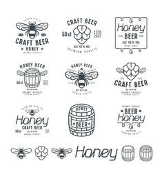 set of honey beer labels vector image vector image