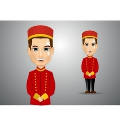 Young bellhop waiting for the clients vector