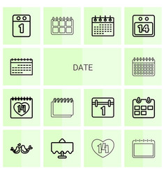 14 date icons vector