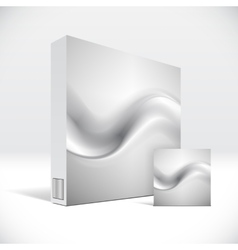 3d identity box with abstract grey smoke lines vector