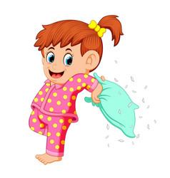 A girl playing pillow vector